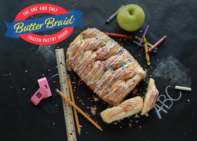 Fundraising Tools - Butter braid pastry on blackboard with school supplies